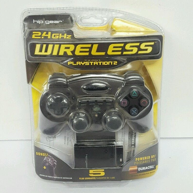 PlayStation PS2 Wireless Controller For Playstation PS2 Hip Gear Black  Wireless Controller