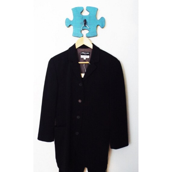 90s Vintage Black Silk Blazer Womens Pant Suit Phi
