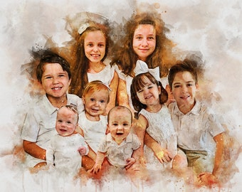 Watercolor Family Portrait From Merging Multiple Photos, Anniversary Gift for Parents, Loss of Loved Ones Gift, Father's Day Gift, combine
