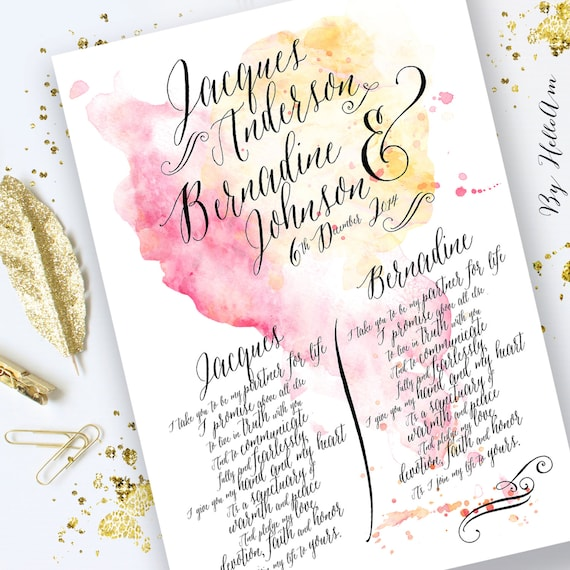 Wedding Vows Gifts Ideas: Wedding Vows Paper Anniversary Gift For Him Wedding Vow