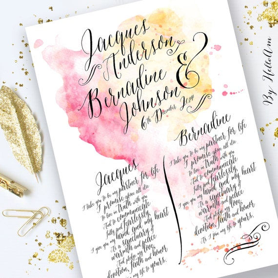 Wedding Vow Gifts: Wedding Vows Paper Anniversary Gift For Him Wedding Vow