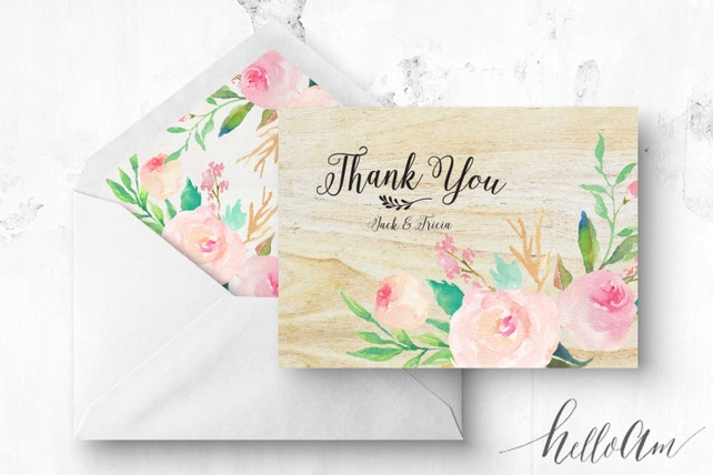 Wood Wedding Wedding Thank You Cards Rustic Thank You Cards
