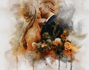 Painting From Photo, Wedding illustration, Custom wedding portrait From Photo, Custom Couple Portrait Watercolor, gift for her