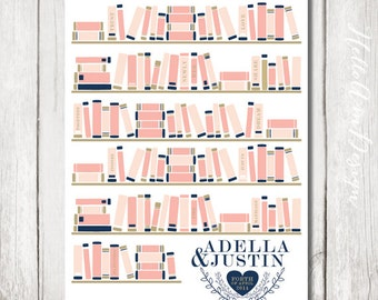 Library wedding - Wedding Guest Book - Guestbook - unique wedding GuestBooks - Guest Book ideas - Book Lovers - Library Poster