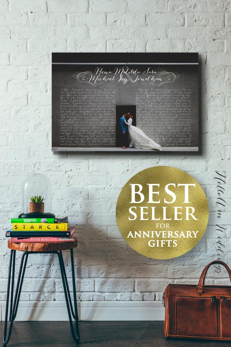 1st anniversary gift  Wedding Vow Art 5th Anniversary Gift image 1