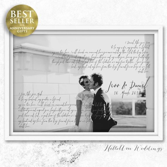 wedding vows framed 1st anniversary gift vows Wedding vows | Etsy