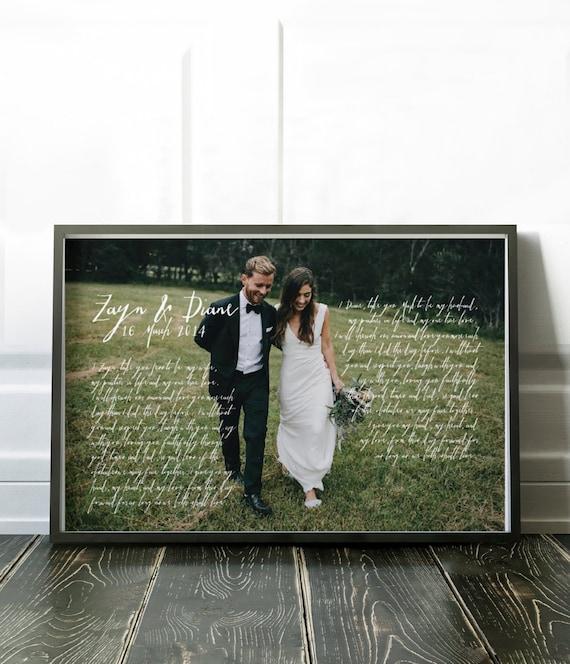 Wedding Vows Framed 1st Anniversary Gift Mr And Mrs Wedding Etsy