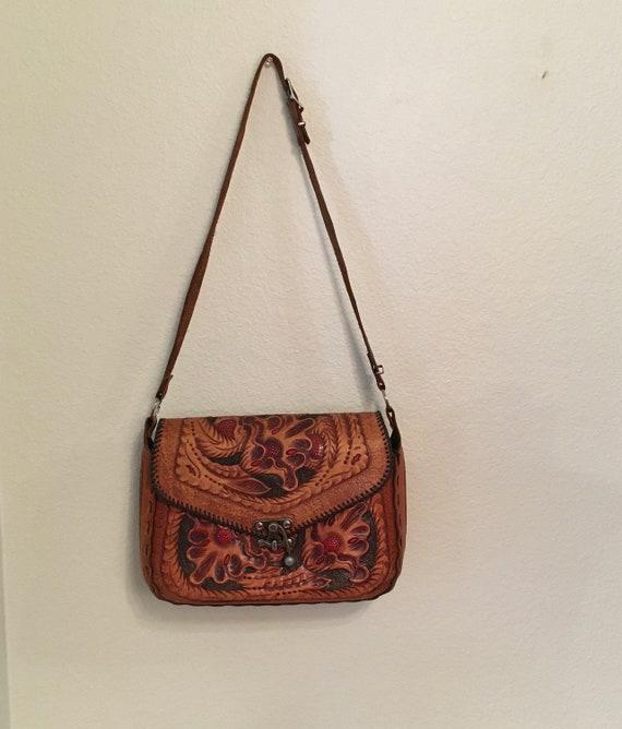 Vintage Leather purse, Hand Tooled Purse, Western