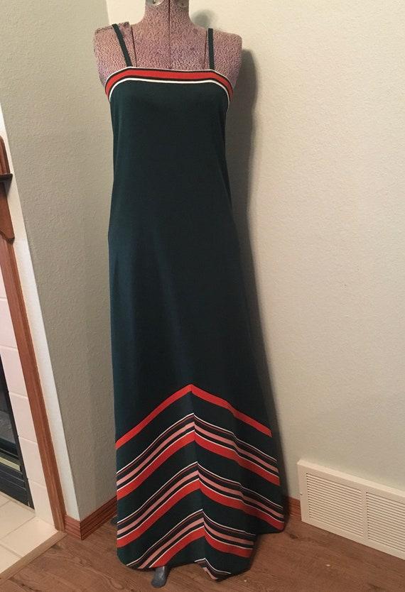 Vintage 70s Maxi dress, Chevron print retro dress,