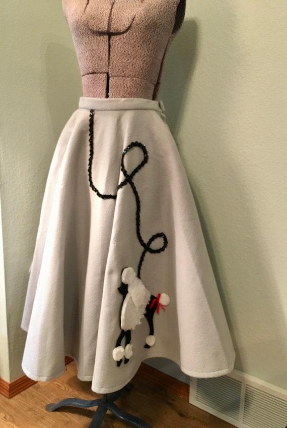 Vintage 50s Poodle Skirt, Wool felt circle skirt,