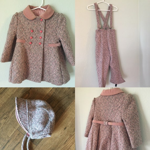 f7d56e89168c Vintage Girls Tweed Coat Wool blend pink and gray winter set