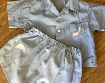 Vintage two piece boys outfit, bird and parachute appliqué, shirt and shorts, light blue Stantogs and Alfred Leon Inc, Summer boys outfit