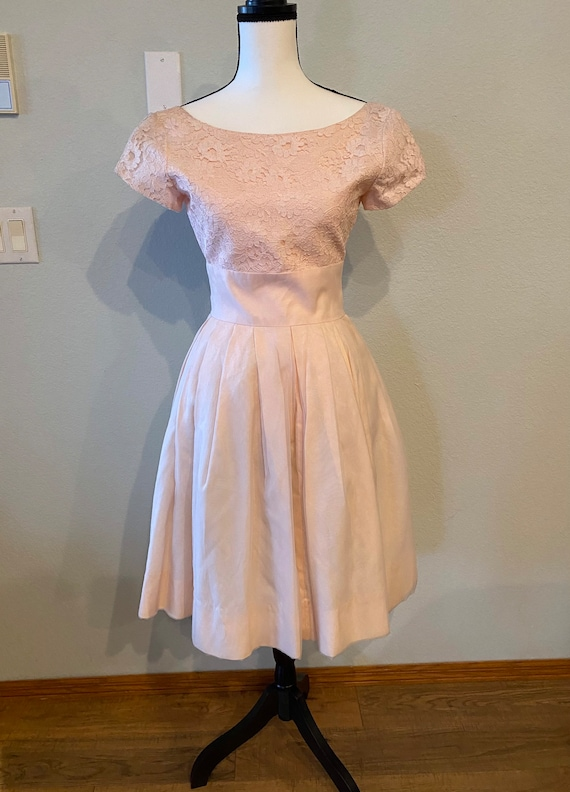 Vintage Lace and Organza Party Dress, Pink Prom dr