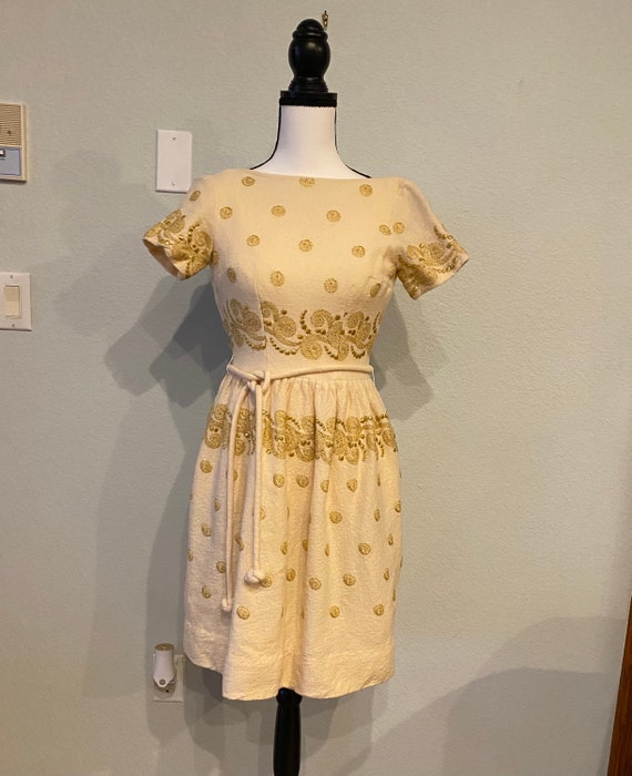 Vintage 50s wool dress, Henley Jr. dress with gold