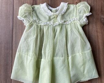 Vintage Nylon Swiss Dot Baby dress, 50s sheer baby dress, Swiss Dot and lace toddler dress, yellow/green dress