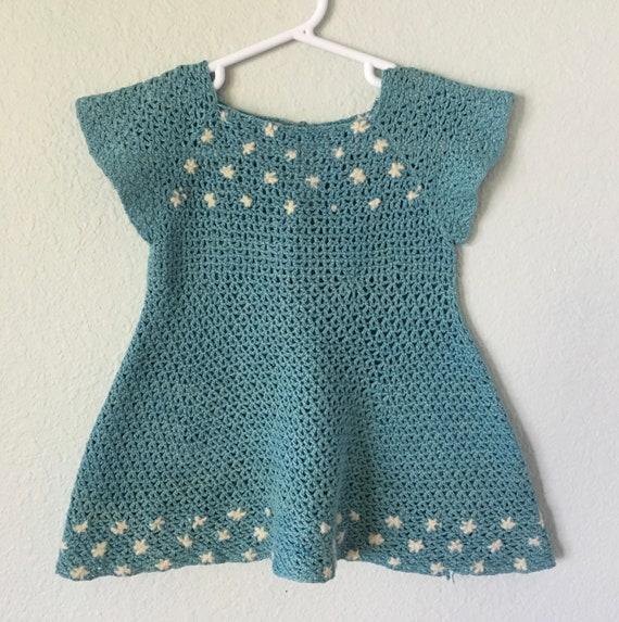 Antique Crochet Baby Dress, 40s handmade toddler d