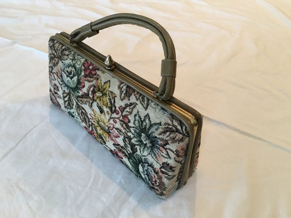 Vintage Tapestry Purse, 50s top needle pointe hand