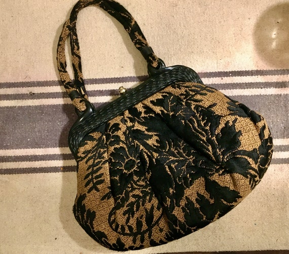 Vintage Crown Lewis Tapestry purse,  Black and bro
