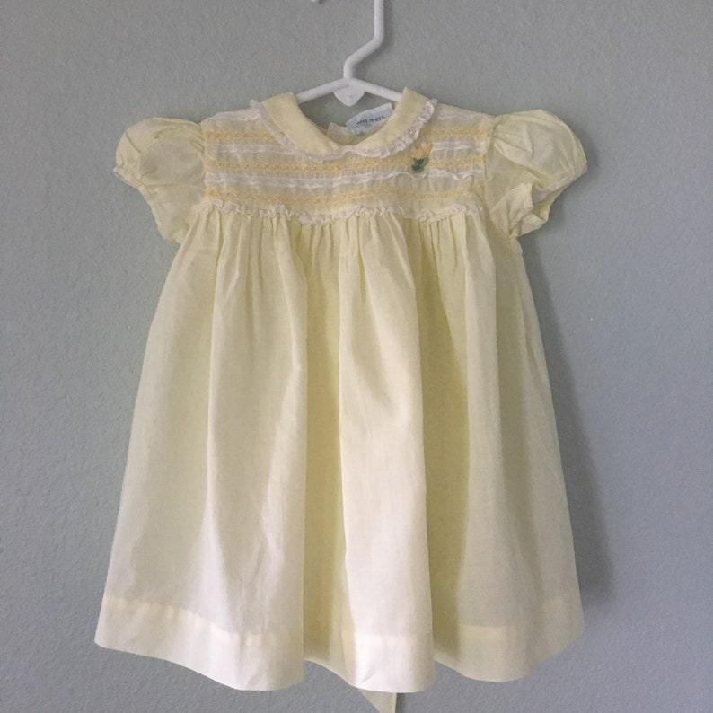 5cc0988cef32 Vintage Nannette Baby Dress 50s yellow toddler frock yellow | Etsy