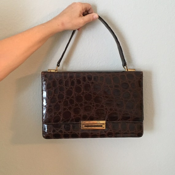 Vintage Escort purse, brown leather lined Kelly b… - image 1