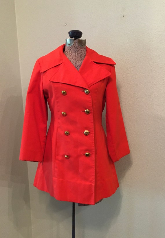 Vintage Spring Women's Coat, Red double breasted j