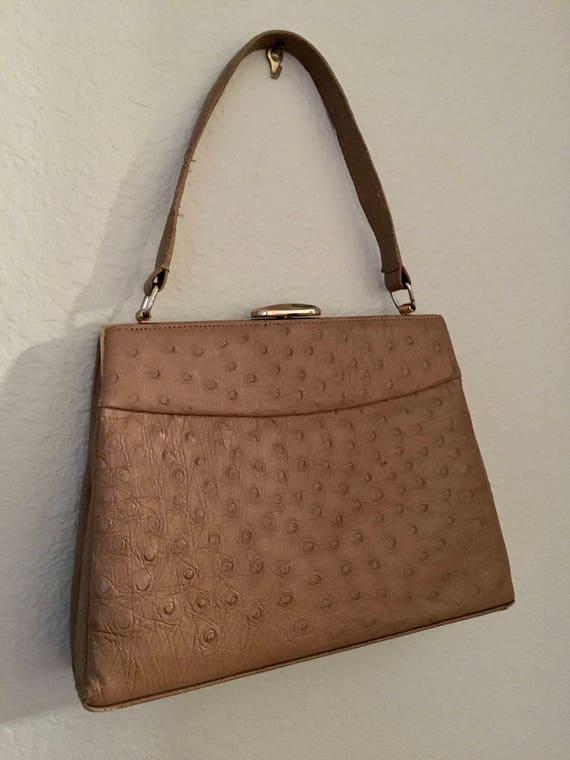3cf79dba4 Vintage Ostrich Purse Corbeau Curio handbag 50 Kelly purse | Etsy