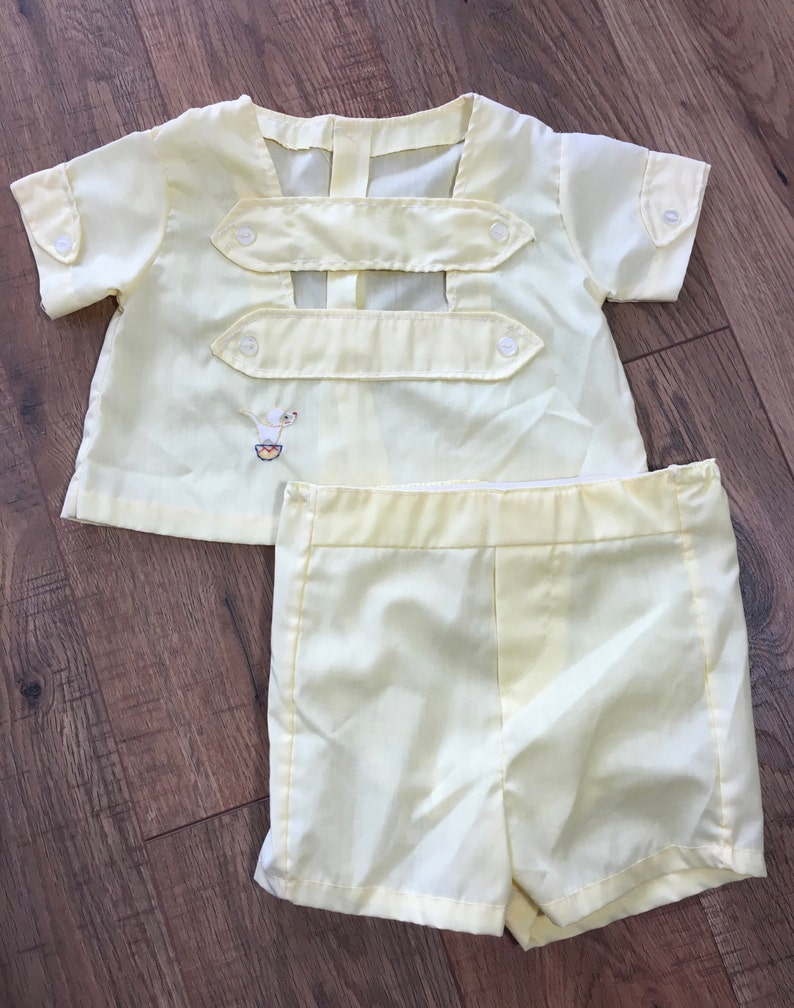 3f8dada54 Vintage Baby Two Piece Outfit yellow boys shorts and top | Etsy