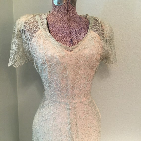 Vintage 1940s DuBarry Lace Gown, 30s/40s long wedd