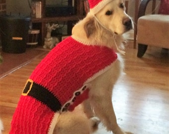 dog santa suit santa dog sweater dog santa outfit christmas dog sweater made to order extra small small medium large sizes - Large Dog Christmas Sweaters