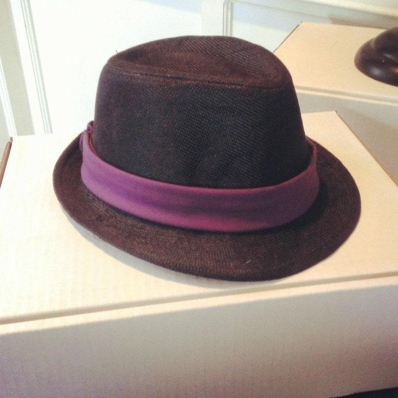 33370ec860051 Custom Order Black Fedora Hat w. Dark Purple Band
