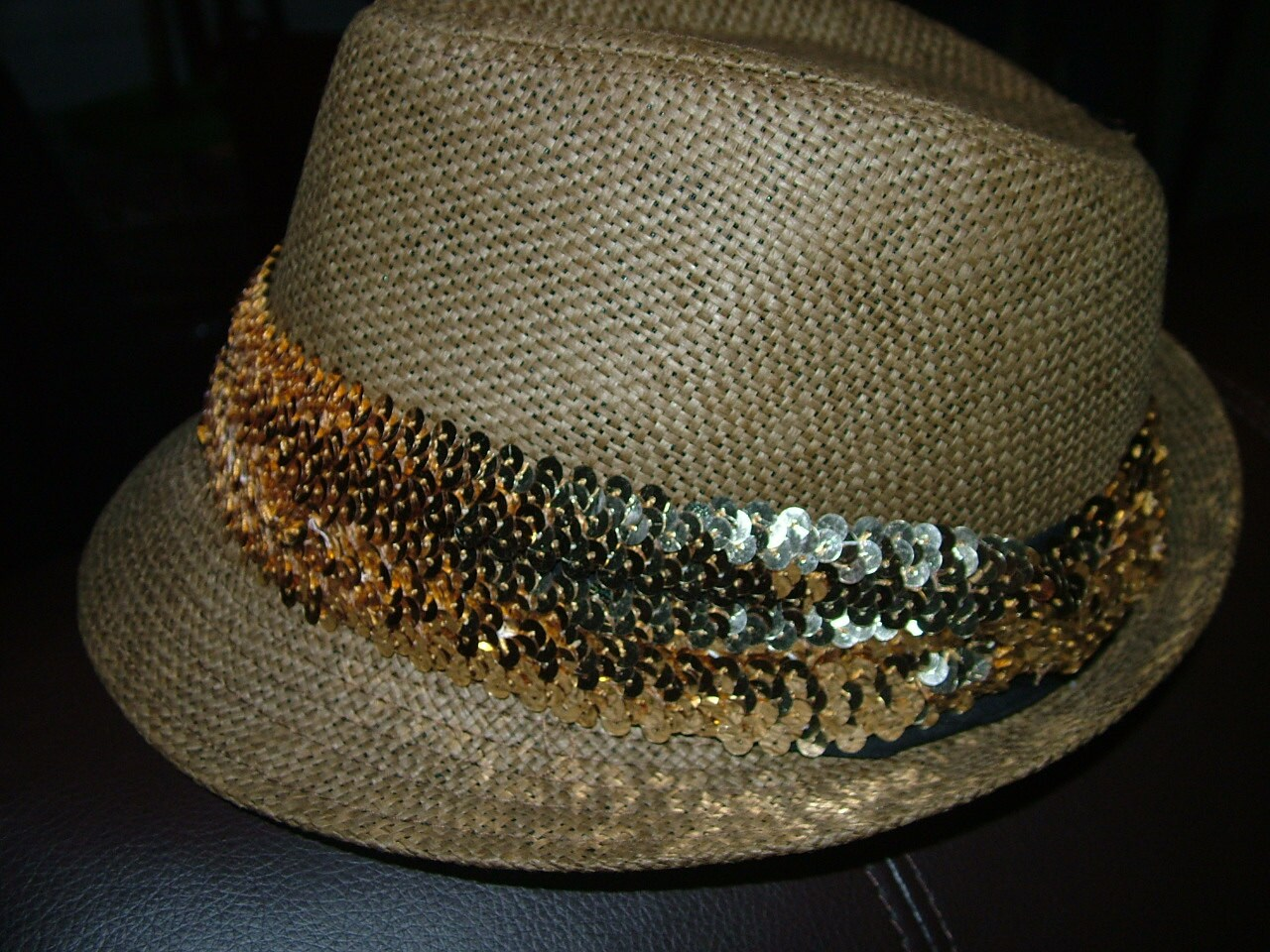071b893c Fedora Straw Hat with Detachable Sequined Hat Band! Comes in Black, Brown  or Beige.