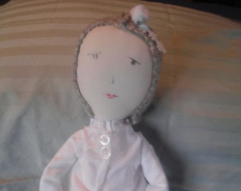 "Rag doll ""Snow"", Jess Brown inspired, upcycled textiles, heirloom quality"