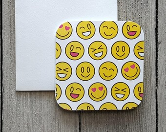 Emoji Mini Cards, Blank Note Cards, Small Note Cards, Favor Gift Tags, Mini White Envelopes, Set of 10