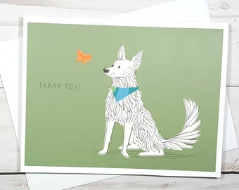 Thank You Dog Card, German Shepherd Dog Card, Dog Note Card, Dog Lover Gift, Pet Sitter Card, Dog Thank You Card, Dog Greeting Card