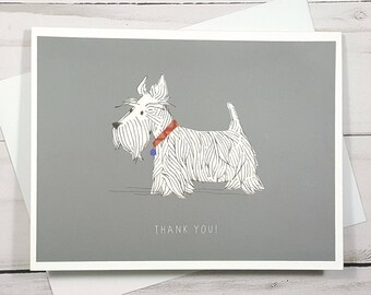 Thank You Dog Card, Scottie Dog Card, Dog Note Card, Dog Lover Gift, Pet Sitter Card, Dog Thank You Card, Dog Greeting Card, Blank Card