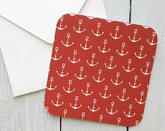 Anchor Cards, Sailor Cards, Nautical Mini Cards, Naval Cards, Small Note Cards, Mini Envelopes, Set of 4