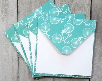 Bicycle Mini Envelopes, Blank Note Cards, Small Note Cards, Bicycle Gift Tags, Enclosure Cards, White Mini Envelopes, Set of 4