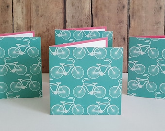 Bicycle Mini Cards, Blank Note Cards, Small Note Cards, Bicycle Gift Tags, Enclosure Cards, White Mini Envelopes, Set of 4