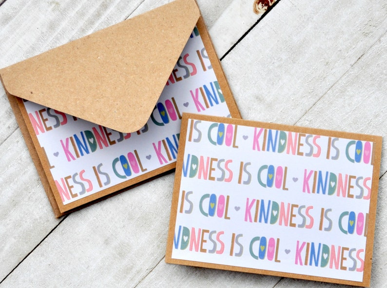 Blank Cards Set of 4 Kindness Is Cool Mini Cards Enclosure Cards Small Stationery Lunchbox Notes