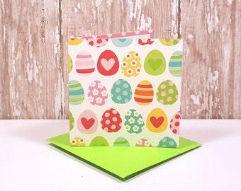 Easter Egg Mini Cards, Blank Easter Note Cards, Small Note Cards, Easter Cards, Easter Egg Gift Tags, Mini Green Envelopes, Set of 4
