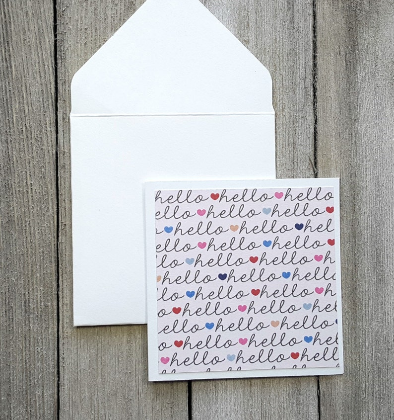 Hello Mini Cards Set of 4 Small Stationery Enclosure Cards