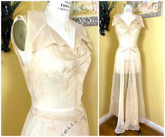 vintage 1930s dress // sheer peach silk organdy 30