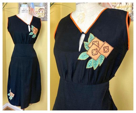 vintage 1930s dress // black + orange cotton Hallo