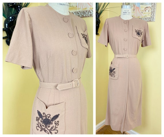 vintage 1940s dress // cozy tan wool 40s dress //