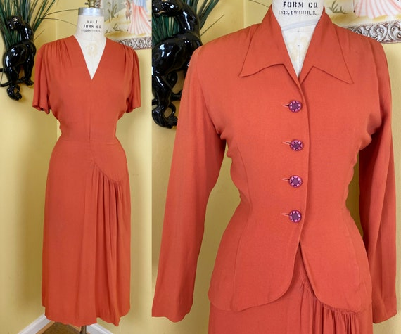 vintage 1940s dress set // pumpkin orange rayon cr