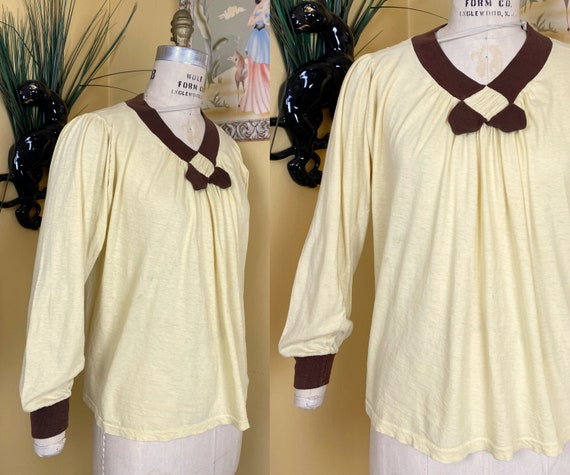 vintage 1940s blouse // MATERNITY pale yellow + br