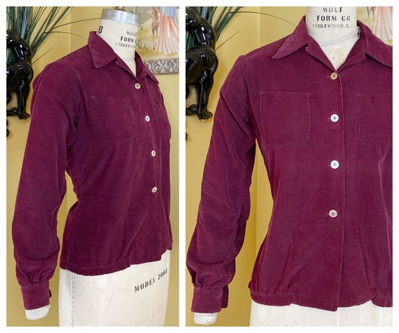 vintage 1940s shirt // burgundy cotton corduroy 40