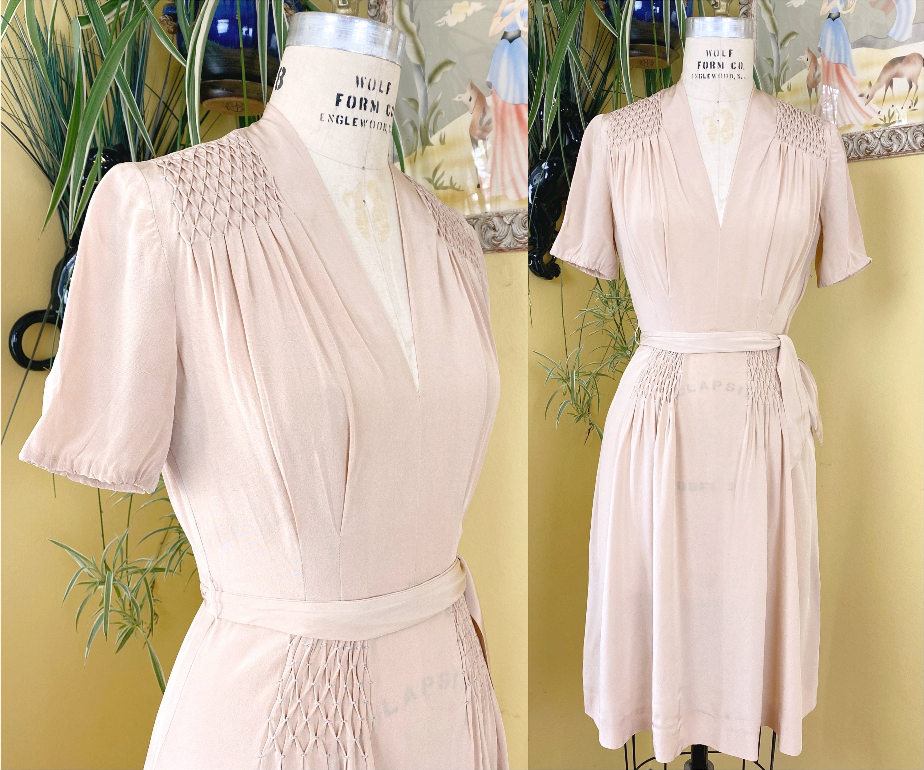 1940s Jewelry Styles and History Vintage Early 1940S Dress  Pale Peachy Pink Rayon 40S Intricate Smocked Panels  Matching Sash Belt $20.00 AT vintagedancer.com