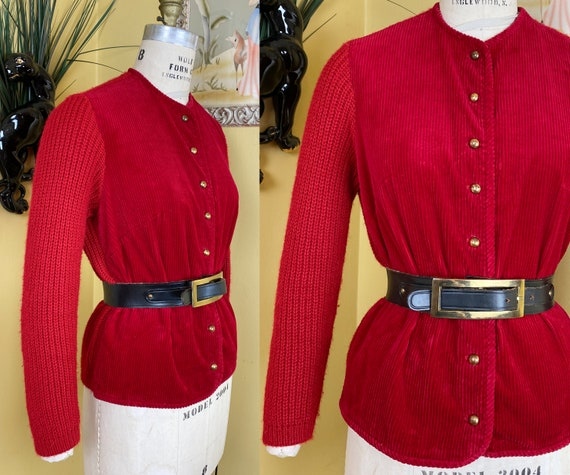 vintage 1950s sweater // bright red corduroy + chu