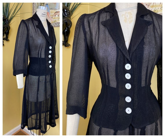 vintage late 1930s - early 1940s suit // sheer bla